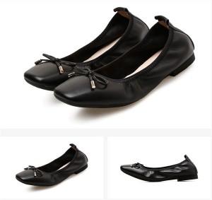 OEM Women Black Calfskin Square Toe Shoes Foldable Ballet Shoes