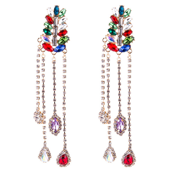 Multi-Layer Glass Rhinestone Earring Women Fashion Long Earring Bohemian Earrings