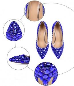 Green Rhinestone Shoes Women High Heels