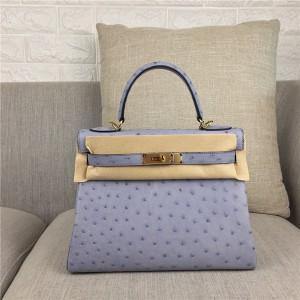High Quality Grey Ostrich Leather Office Lady Handbag 28cm 32cm