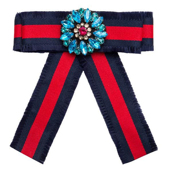 Wholesale Pretty Red Bow Corsage Women Fashion Multi-Layer Canvas Corsage Rhinestone-Studded Brooch Corsage
