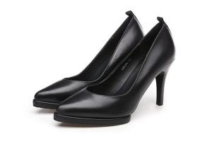 Superior Quality Sheepskin Platform Pumps Heels Black