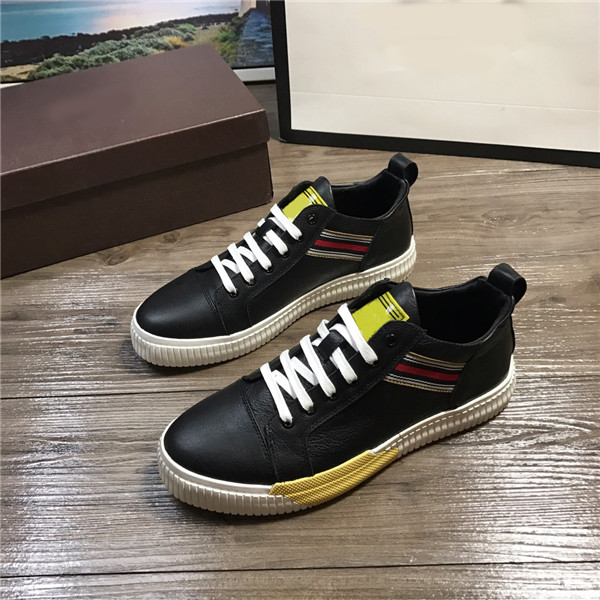OEM Italian Brand Men Sneakers Black Cowhide Athlet Shoes With White Shoes Lace