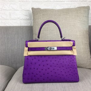 High Quality Famous Brand Purple Ostrich Leather Hand Bags  Kelly 28cm 32cm