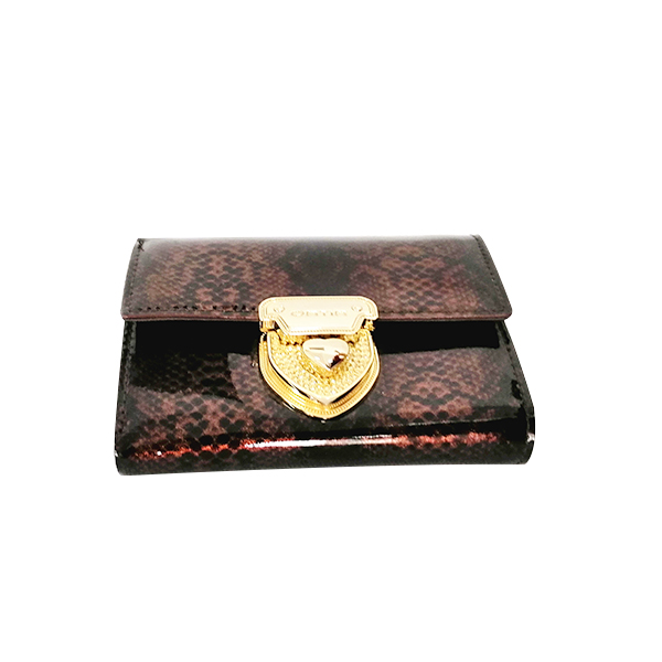 Brown Luxury short leather snake tattoo  wallet money clip