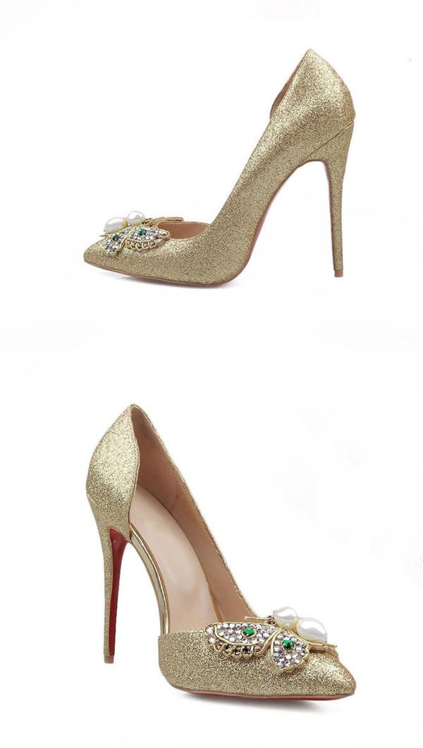 Golden Sequine 11cm High Heel Shoes Women