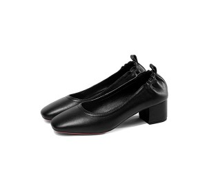 5cm Heel Black Low Heel Genuine Leather Shoes Women