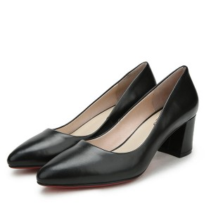 Women Middle-Heeled Black Sheepskin Formal Shoes Supplier