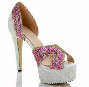 High Quality Sheepskin Inner 14cm High Heel White Crystal Shoes With Pink Rhinestone
