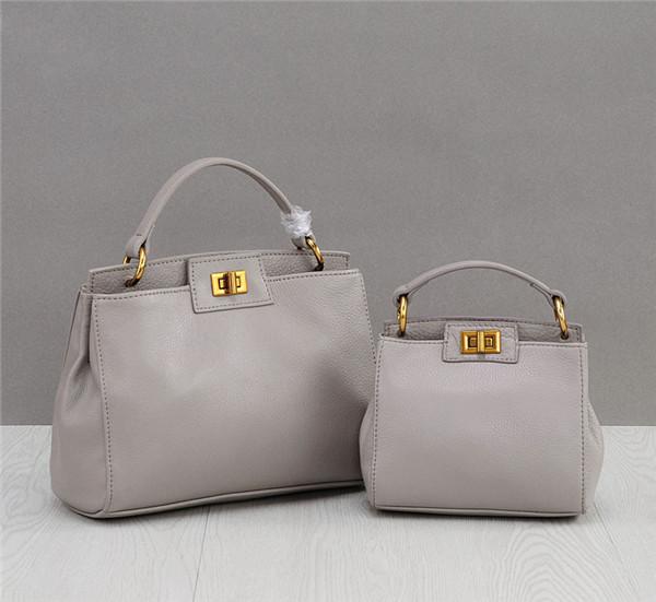 OEM Grey Natural Leather Bags Handbags Fashion Tote Hand Bag