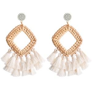 Europe And The United States Brand Earrings Geometric Rattan Woven Earrings White Tassel Earrings