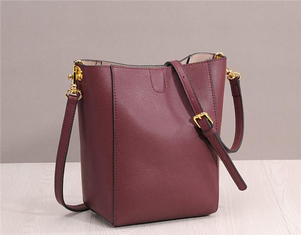 Real Leather Bucket Bag Cowhide Women Shoulder