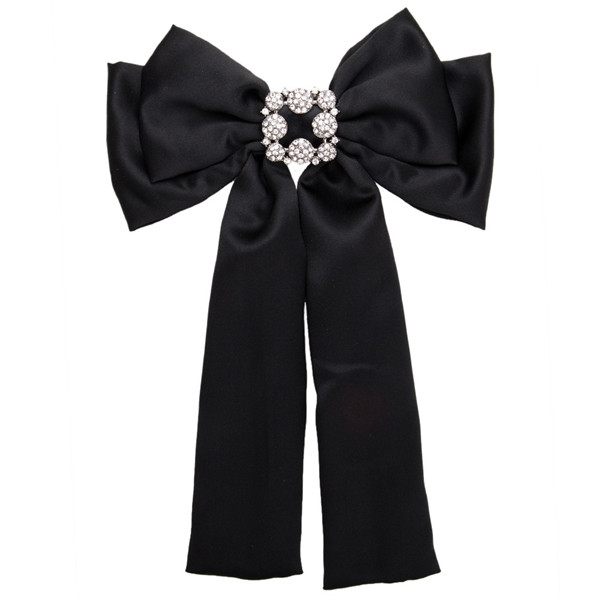 Nice Quality Famous Brand Silk Bow Boutonniere Women Black Multi-Layer Ribbon Corsage Diamond-Studded Brooch