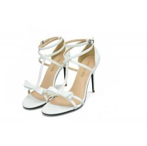Ladies Plus Size Sexy Sandals White Fine Heel