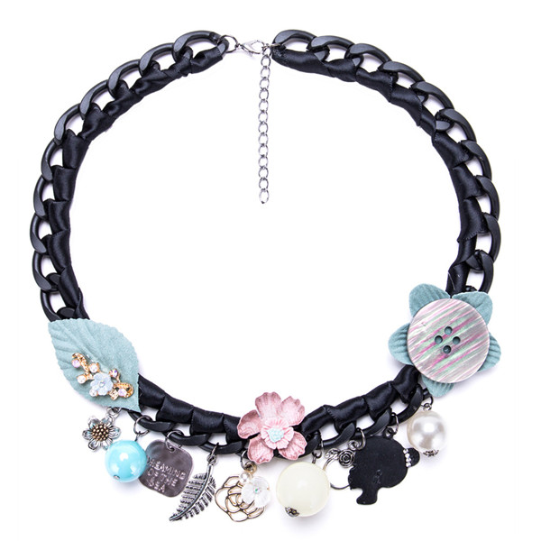 Alloy Chain Necklace Women Fashion Silk Ribbon Necklace Resin Necklace
