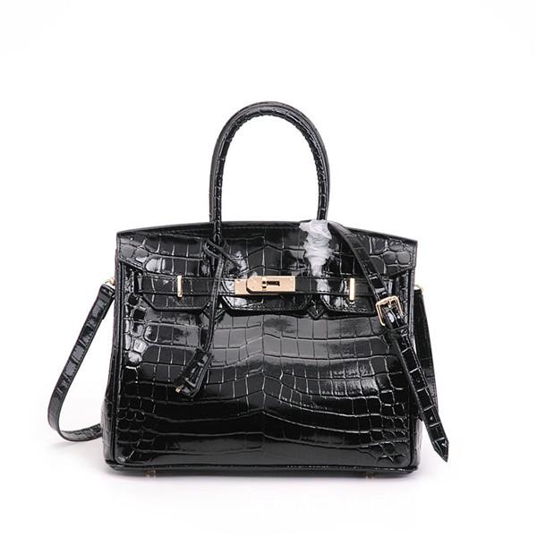 High Quality Black Alligator Cow skin Branded Name Handbags Women Original Leather Tote Bag