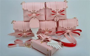 Most Popular Pink Synthetic Leather Bags Ladies Shoulders Bags With Bow And Wings