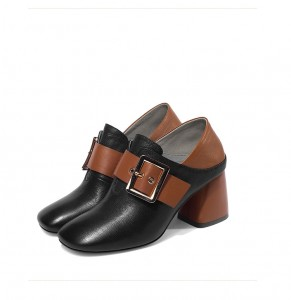 Women Retro Shoes Genuine Leather Square Toe Step-On Shoes