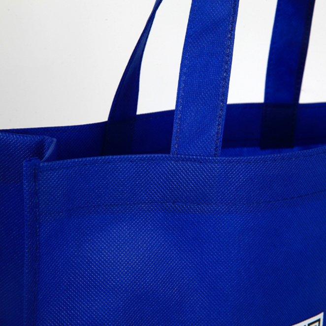 Printed recyclable fabric royal blue non woven shopping bag with logo