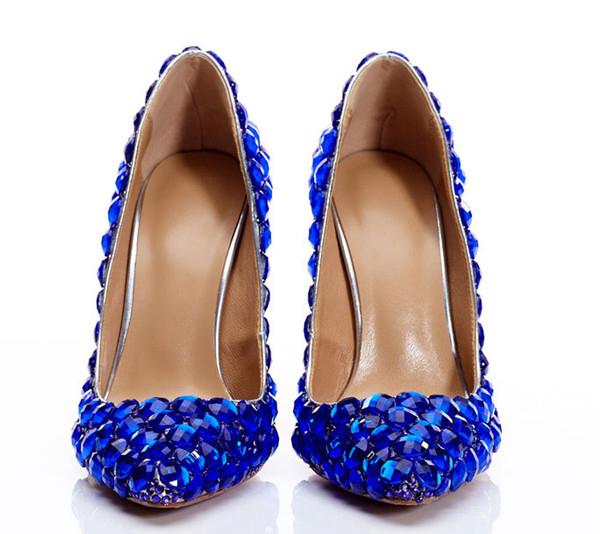 Royal Blue Rhinestone 12cm Hippocampus Heel Shoes Pumps