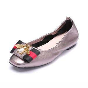 OEM Big Yard Shoes Ladies Genuine Leather Foldable Ballet Shoes With Toe Flower
