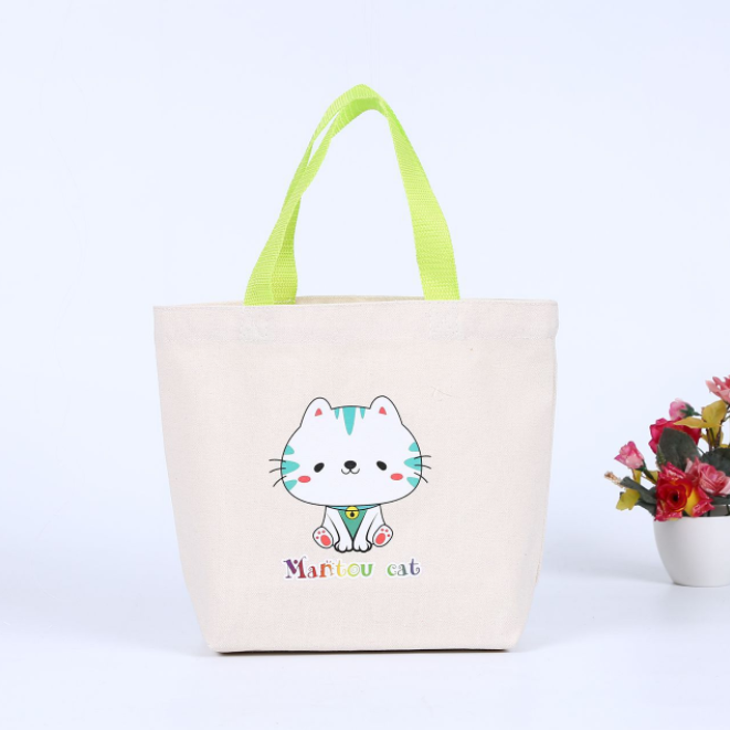 OEM beige cartoon cotton shopping bag canvas tote bag with gusset
