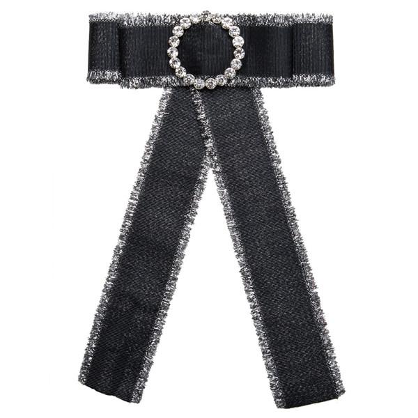 Nice Quality Black Bow Corsage Trendy Boutonniere Women Fashion Canvas Corsage Bohemian Necklace