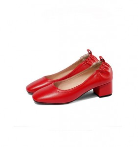 5cm Heel Red Real Leather Slip-On Low Heel Female Shoes