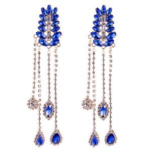 Blue Multi-Layer Glass Rhinestone Earring Women Fashion Long Earring Bohemian Style Earring