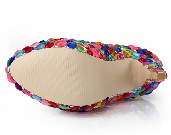 14cm Super Heel Colorful Sequin Crystal Platform High Heel Shoes