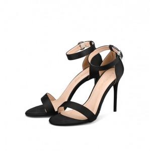 Black Silk Satin Ankle Strap Sandals Ladies