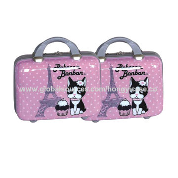 ABS shell printed carrying cosmetic case bag