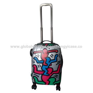 Fashion printed PC luggage case, 4 spinner wheels