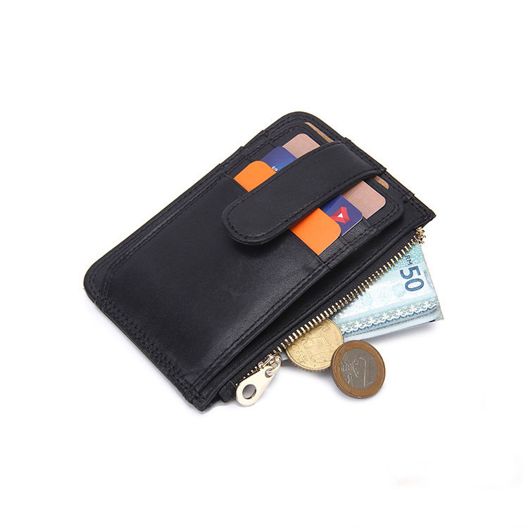 Leather Card Wallet Coin Pocket Men's Leather Slim ID Wallet