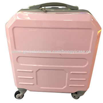 Pink pure PC hard luggage with computer pocket