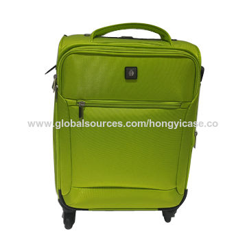 Polyester soft-shell suitcase with 4 wheels