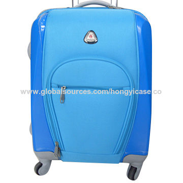 Polyester trolley luggage bag with 4 wheels