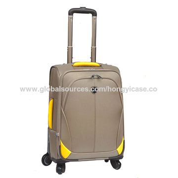 Soft fabric nylon luggage with 4 spinner wheels