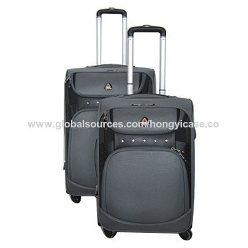 Soft trolley polyester luggage with 4 wheels