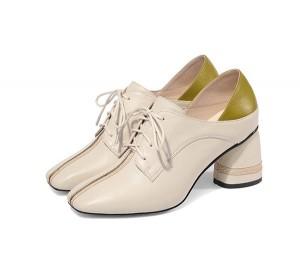 6.5cm Middle-Heel Beige Cow Skin Ladies Big Heel Shoes