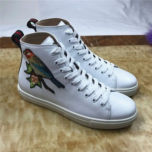 White Leather Sneaker With Colorful Bird And Flower Embroidery