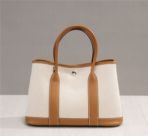 High Quality Women Canvas Bag Designer Garden Party Bag With Brown Handle