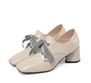 5.5cm Beige Leather Middle-Heeled Shoes Female Lace-Up Shoes