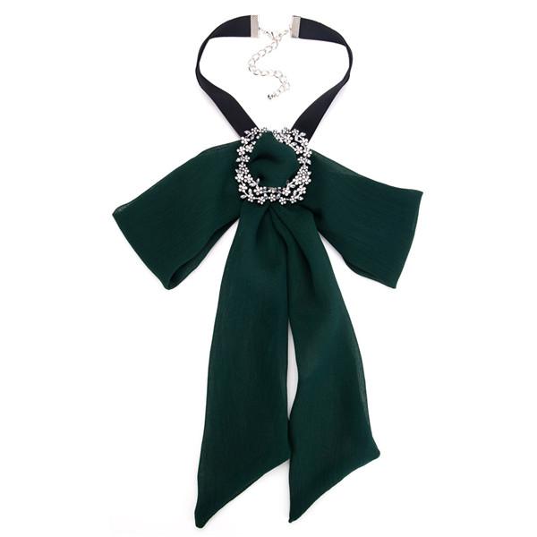 Pretty Green Bow Corsage Beautiful Alloy Rhinestone Yarn Corsage Bohemian Necklace