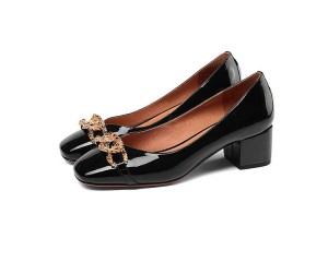 Women 5cm Middle-Heeled Black Patent Leather Lady Shoes