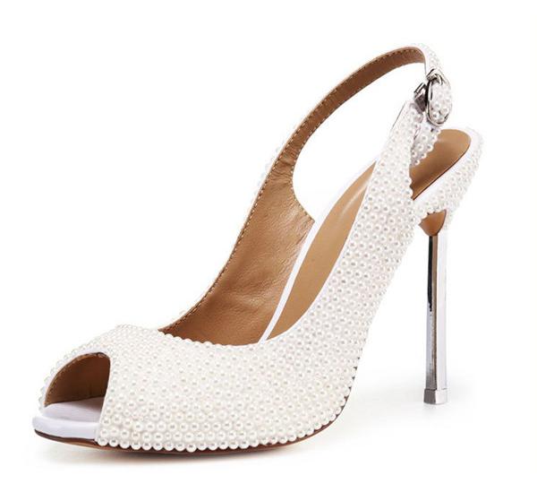 Lady Handmade Goatskin Elegant Shoes With White Rhinestone Crystal