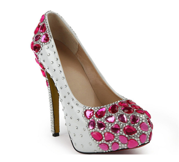 Pink Crystal 14cm Stiletto High Heel Shoes