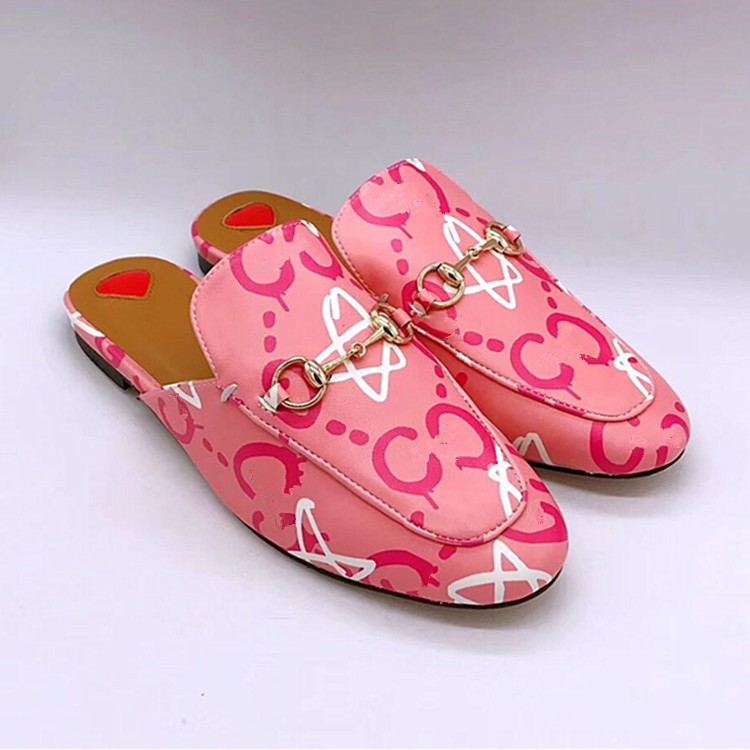Printed Cowhide Flat Loafers For Women And Men Outdoor Half Slippers Pink