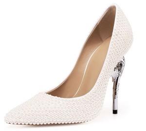 OEM Custom Made 12cm Heel White Crystal Handmade Women Pumps