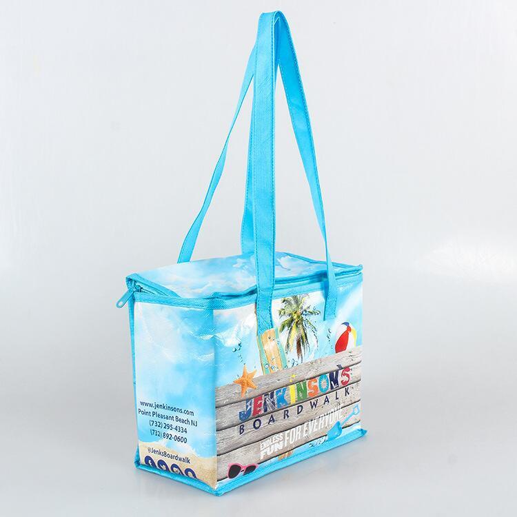 Zipper custom logo refrigerated bag fresh keeping bag non woven aluminum film insulation cooler bag